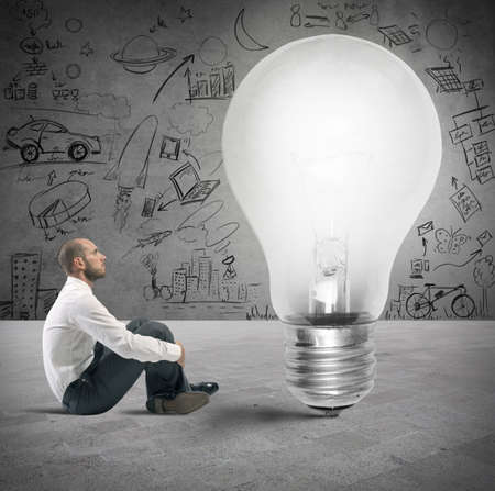 problem solution: Concept of new idea of a businessman