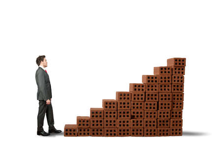 Concept of building a business with statistic made of brick Stock Photo - 22441904