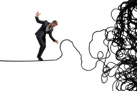 문제와 사업가의 어려움의 개념 스톡 콘텐츠
