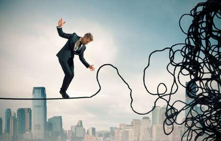 Concept van het probleem en de moeilijkheidsgraad van een zakenman