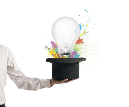 New idea exit from hat with colorful effect