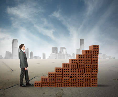 Concept of building a business with statistic made of brick photo