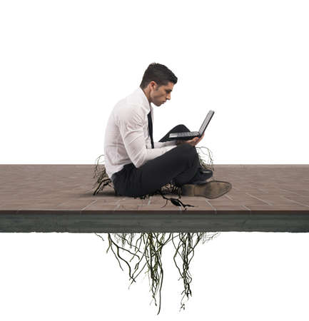 Concept of internet addiction of a businessman photo