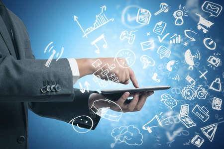 conference call: Businessman working with tablet and social media with modern sketch symbol