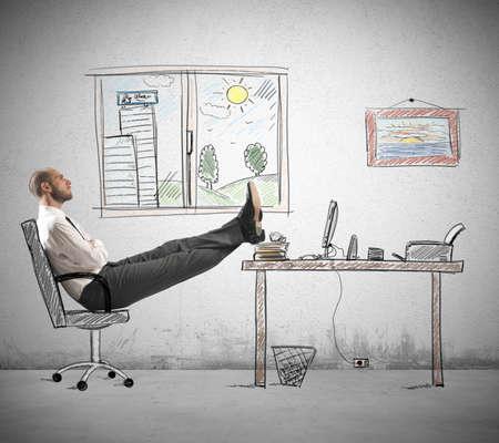 Concept van de carrière en ambitie van een ondernemer Stockfoto