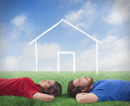 dream home: Concept of a couple who dream of a home Stock Photo