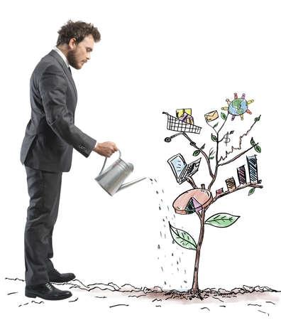 비즈니스 기호 식물의 스케치 성장하는 회사의 개념