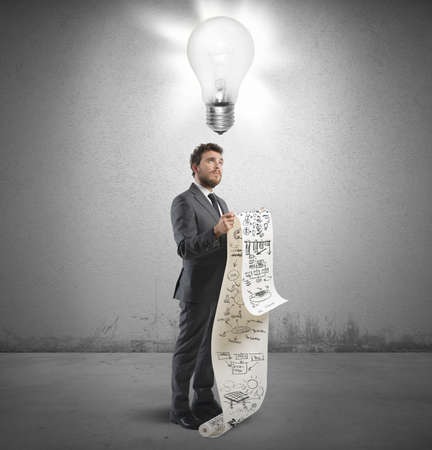 new strategy: Businessman with new idea for a new strategy