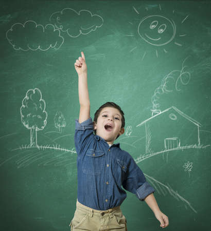 education concept: Concept of green idea with kid at school