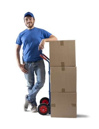 Courier at work with stack of boxes Stock Photo - 22730642