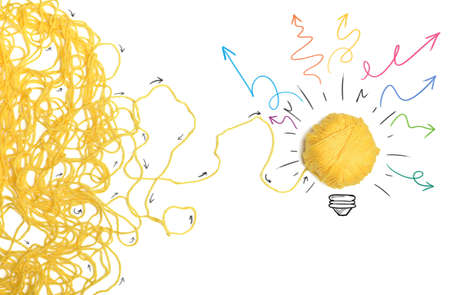 Idea and innovation concept with yellow ball Stok Fotoğraf