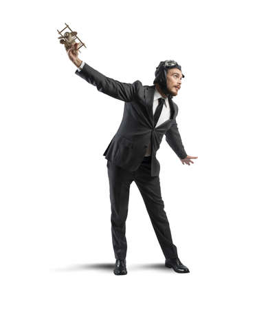 Concept of a businessman who dreams to flying Stock Photo - 22793964