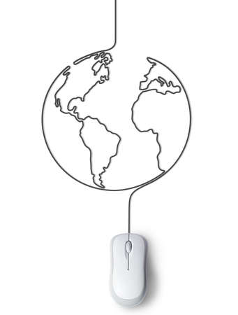 Concept of mouse connected with the world photo