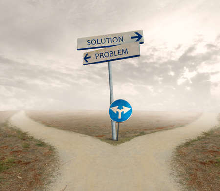 ponder: Crossroad with signal of problem and solution way