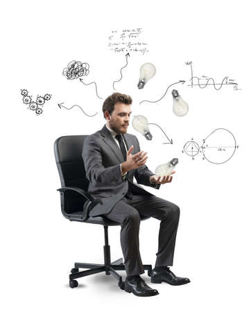 easy chair: Concept of businessman that elaborates a new idea
