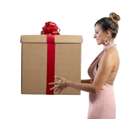 Fashion girl holds a big Christmas present Stock Photo - 23098640
