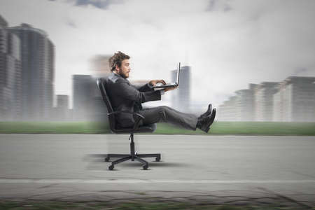 internet: Concept of fast business with businessman on the road Stock Photo