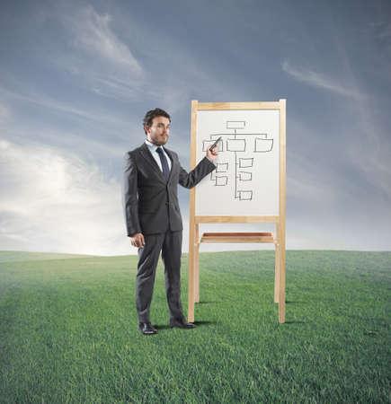 training: Man die een opleiding op de bedrijfsstrategie doet