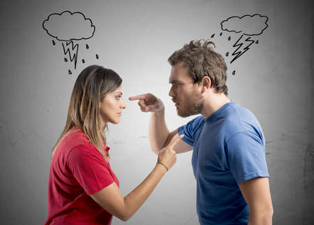 husband and wife: Concept of discussion between husband and wife Stock Photo