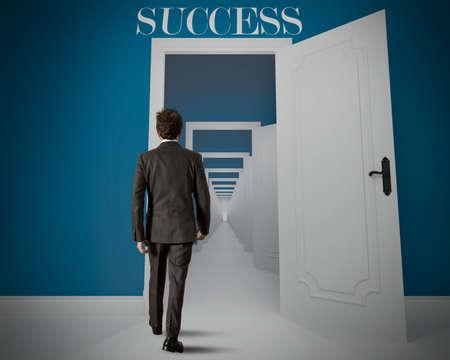 Concept van de lange weg naar het succes