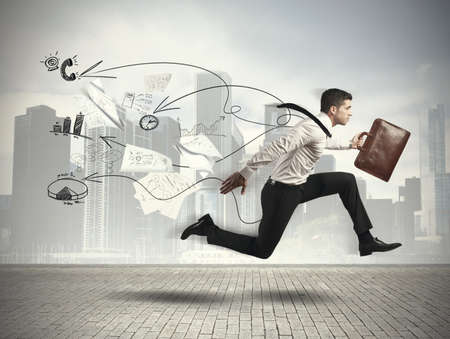 running businessman: Concept of Fast business with running businessman