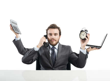 weariness: Concept of multitasking businessman who works with more arms Stock Photo