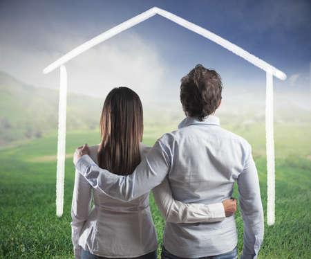 sue�os: Concepto de una pareja de la planificaci�n de una nueva familia