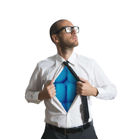 Businessman acting like a superman with blue torso Stock Photo