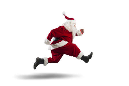 santa: Running Santa Claus isolated on white background