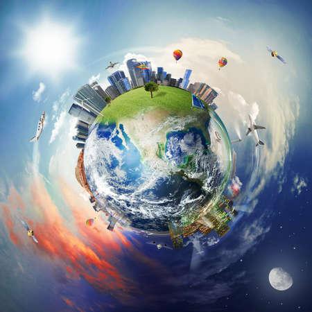 Concept van de moderne wereld met wolkenkrabber, vliegtuig en elementen van de hedendaagse wereld