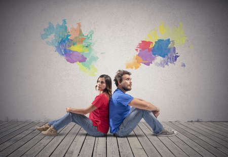 thinks: Couple who thinks concept with colorful effect Stock Photo