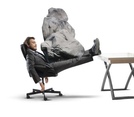 Concept of stress at work with businessman crashed photo