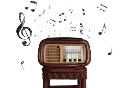 Abstract vintage music notes with old radio Stock Photo - 23905592