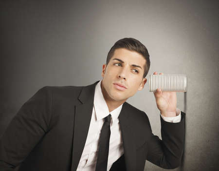 job searching: Concept of businessman spy secrets on business