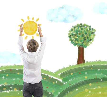 Concept of protect nature with child that holds the sun photo