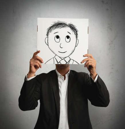 semblance: Uomo d'affari Optimist con il fumetto sorridente progettato su un foglio Archivio Fotografico