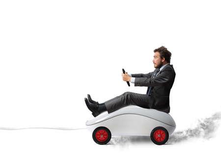 Concept van snel internet met de muis als een auto Stockfoto