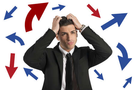 ponder: Concept of Confused way of a businessman Stock Photo