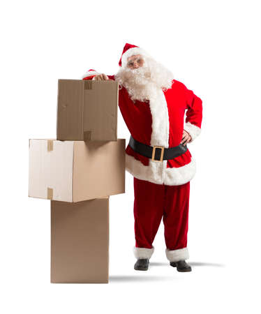 Tired Santa Claus courier with some pack photo