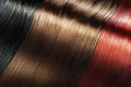 hair coloring: Set of different long shiny hair color