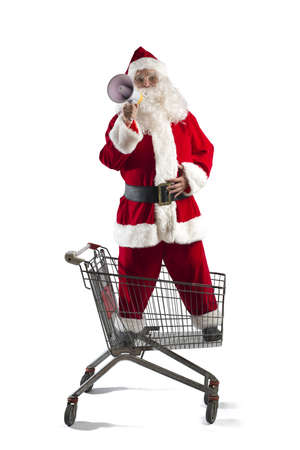 Santa Claus shouting Christmas deals at the megaphone photo