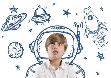 astronauts: Child who dreams of being in space with open eyes