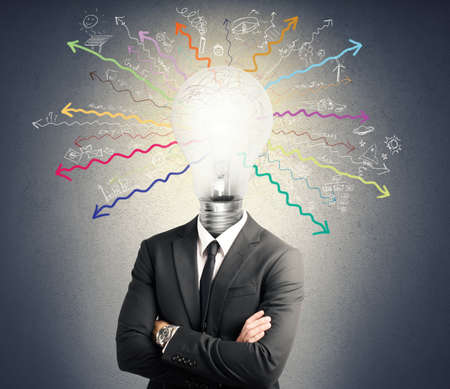 Concept of genius with illuminated light bulb in head Stock Photo