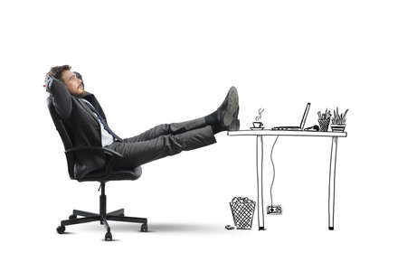 Successful businessman relaxing in an imaginary office Stock Photo - 24369277