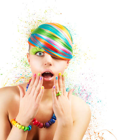 Colorful fashion makeup with rainbow color explosion photo