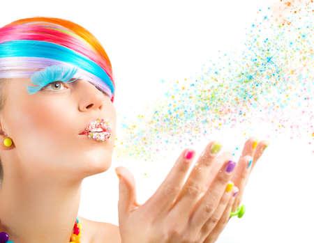 Kleurrijke mode make-up met regenboog magisch kleur Stockfoto