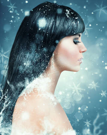 Winter beauty makeup for Christmas with winter effect photo