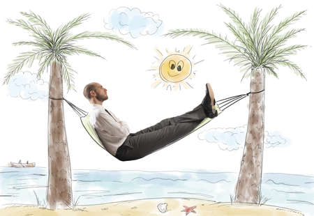 hammock beach: Success and relax of a dreaming businessman Stock Photo