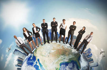 Concept of global business team with businesspeople over the world photo