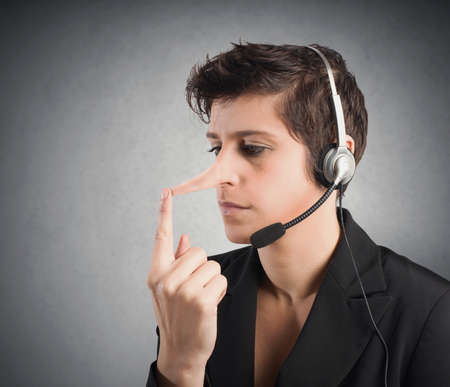 long nose: Concept of Customer Support liar with long nose